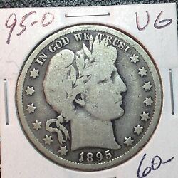 1895-o Vg Barber Half Dollar Ly And Part Of T Nice Wreath Better Date 1