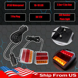 Stop Indicator License Number Plate Tail Lamp 12v Tow Truck Trailer Light Kit
