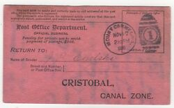 1908 Nov 17th. Maritime Disaster Mail. Postcard. Canal Zone.