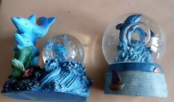 2 Pretty Collectible Small Resin And Glass Dolphin Glitter/snow Globes