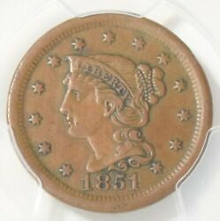 1851/81 Braided Hair Large Cent Pcgs Xf40