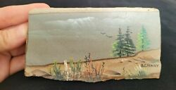 Owyhee Picture Jasper Slab Painted On One Side Signed A.o. Henry