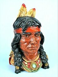 Native American Indian Brave Head Bust Universal Statuary 1966 Western Statue