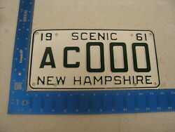 1961 61 New Hampshire Nh License Plate Tag Sample Ac000 Kc