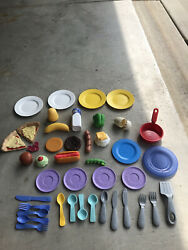 Vintage Fisher Price Fun With Foods 44 Pc Lot Hamburger Hot Dog Pizza Plates Etc