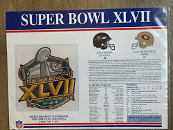 Super Bowl 47 Ravens / 49ers Nfl Willabee Ward Official Sb Xlvii 2013 Patch Card