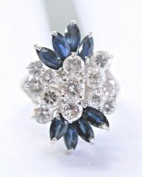 Fine Round Cut Diamond And Gem Sapphire White Gold Cluster Ring 14kt 2.80ct