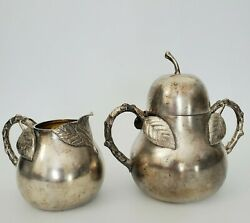 Rare Antique James W. Tufts Pear Leaf Handles Silver Plate Creamer And Sugar 1870s