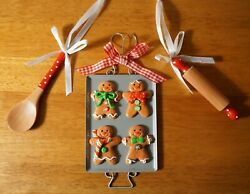 Gingerbread Man Cooking Tray Christmas Cookie Rolling Pin Wood Spoon Ornaments