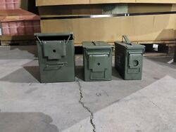 Military Surplus 1 Fat 50 Saw, 1 50 Cal, And 1 30 Cal M2a1 Ammo Can Set No Ammo