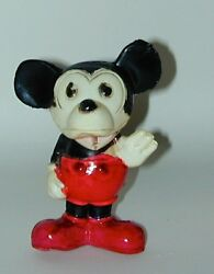 Mickey Mouse Celluloid Figural Rattle With Spring Tail 1930s Japan