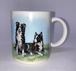 Vintage Border Collie Coffee Mug Mary Jung 1984 Hand Decorated Two Dogs Collies