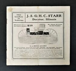 1901 Antique Horse Buggy Carriage Catalog Decatur Il Js Hc Starr Wagon Ad Prices
