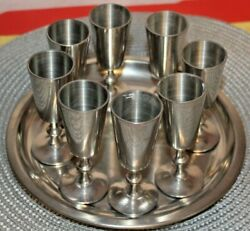 Set Of 8 Pewter Cordial Cups 3.75 Stemmed Shot Glasses Woodbury Pewters Andtray