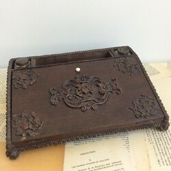Small Writing Inkwell Travel Wooden 19th Century