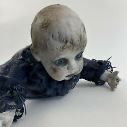 Vintage Creepy Doll Crawling Zombie Baby Horror Halloween Haunted House Prop