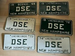 Vintage 1968-1974 New Hampshire License Plate Nh Lot Of 6 Same Letters Dse