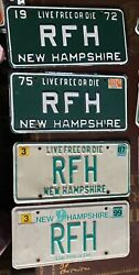 Vintage 1972-1999 New Hampshire License Plate Nh Lot Of 4 Same Letters Rfh