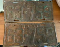 Vintage 1937 New Hampshire License Plate 63-759 Nh Steel Tag Matching Set Pair