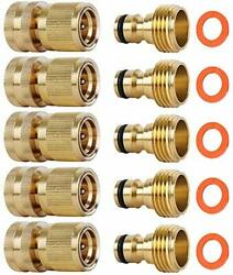 Garden Hose Quick Connectors, Solid Brass 3/4 Inch Ght Thread Easy 5 Packs