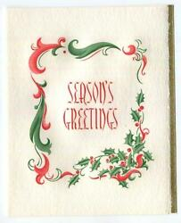 Antique Christmas Green Red Holly Scroll Design Copper Plate Engraving Art Card