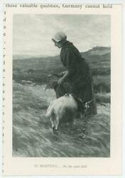 Antique Farm Woman With Sickle Kid Goat On The Sand Hills Miniature Art Print