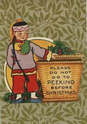 Antique Indian Basket Holly Berries Christmas Sticker Small Art Color Old Print