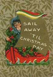 Antique Sailor Girl Boat Holly Berry Christmas Sticker Small Art Color Old Print
