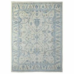9'x12' Ivory With Touches Of Blue Hand Knotted Angora Oushak Wool Rug R69614