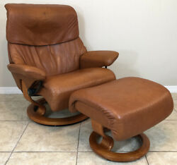 Ekornes Stressless Leather Recliner Chair And Ottoman Large 'dream' Model