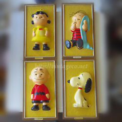 Vintage Snoopy Peanut Wall Plate Picture Frame Set Of 1965