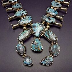 Vintage Navajo Sterling Silver Blue Diamond Turquoise Squash Blossom Necklace