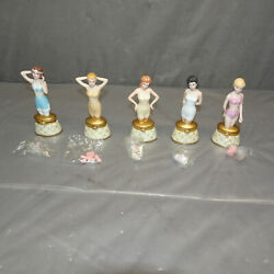 Phb Lady Lingerie 1920s '30 '40s '50s 60s Porcelain Hinged Boxes Trinket Lot-5