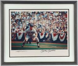 Mickey Mantle New York Yankees Frmd Signed 16 X 20 Stealing Base Vintage Photo