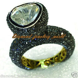 4.65cts Genuine Old Mine Rose Solitaire Antique Cut Diamond Silver Vintage Ring