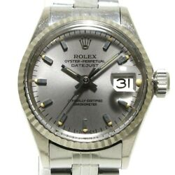 Auth Rolex Oyster Perpetual Date 6517 Silver 1601458 Womens Wrist Watch
