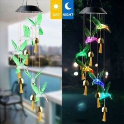 Led Solar Hanging Butterfly Hummingbird Bells Wind Chime Lights Color Changing