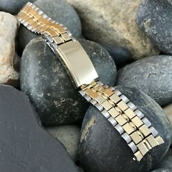 17mm Baldwin Brick Link Gold-filled And Stainless Nos 1960s Vintage Watch Band