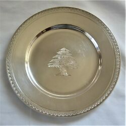 Vintage Hand-wrought Coin Silver Tray Plate Charger Made Lebanon Cypress Tree