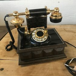 Deco-tel Retro Rotary Dial Desk Phone Vintage Styled Wall Connector Gold Black