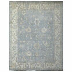 9'x11'8 Silver Blue Angora Oushak Organic Wool Hand Knotted Oriental Rug R69238