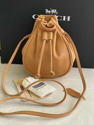 New Coach Vintage Champagne Leather Marble Swing Drawstring Xbody Bag Usa 4031