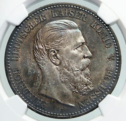 1888 A Prussia Germany King Friedrich Iii Antique Silver 5 Mark Coin Ngc I91609