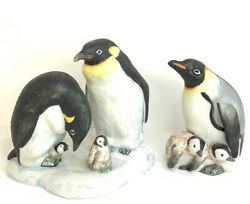 Vintage Enesco Penguin Family Figurine By Fred Aman Limited Edition W/ Extra