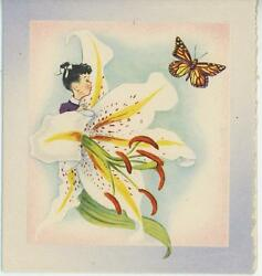Vintage Wee Folk Child Painting White Lily Flower Butterfly Art Litho Print Card