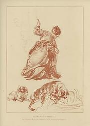 Antique Victorian Woman Dogs Dog Antoine Watteau Study Drawing Old Art Print