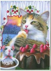 Aceo Tabby White Cat Mouse Hot Chocolate Cocoa Raspberry Cake Sunset Snow Print
