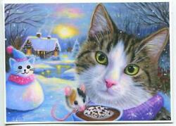 Aceo Christmas White Snow Tabby Cat Snowman Mouse Hot Chocolate Cottage Print