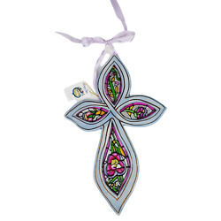 New Faith Is The Gift Cross Stained Glass Blue Sky Clayworks Heather Goldminc