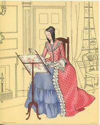 Vintage Colonial America Girl Costume Embroidery Loom Sew Pink Blue Dress Print
